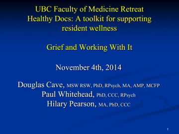 Presentation: 'Grief and Working With It' from the Centre for Practitioner Renewal